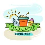 Competição do castelo da areia Bandeira da aguarela ilustração stock