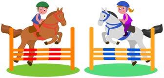 Competição do cavalo das crianças ilustração do vetor
