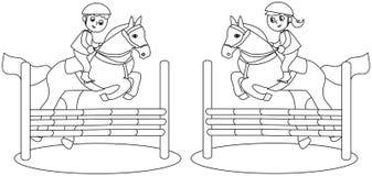 Competição do cavalo das crianças preto e branco ilustração do vetor
