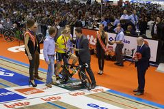 Competição do ciclismo da cerimônia de entrega dos prêmios Imagem de Stock