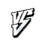 Competição do símbolo CONTRA a ilustração do vetor Contra o logotipo isolado no fundo branco Imagem de Stock Royalty Free