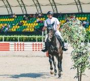 A competição do Showjumping, o cavalo de baía e o cavaleiro na execução uniforme branca saltam sobre o freio Fotos de Stock Royalty Free