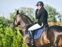 A competição do Showjumping, o cavalo de baía e o cavaleiro na execução uniforme preta saltam sobre o freio Foto de Stock Royalty Free