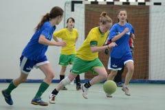 Competição futsal da menina Foto de Stock Royalty Free