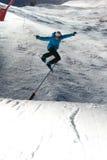 Competição Nocturnal do salto do Snowboard imagem de stock