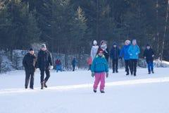 Competições no esqui corta-mato Campeonatos profissionais do esqui do mundo Jogo-Rússia Berezniki 11 de março de 2018 olímpico Fotografia de Stock
