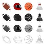 Competições, treinamento, atributos e o outro ícone da Web no estilo dos desenhos animados O coquete, tênis, ostenta ícones na co Imagens de Stock Royalty Free