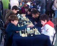 Competiam da escola da xadrez em Valência, Espanha Imagens de Stock