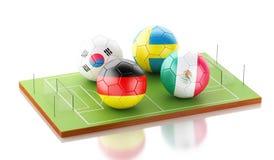 competiam do mundo do futebol 3d Imagens de Stock
