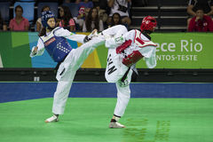 Competiam internacional de Taekwondo no Rio - JPN contra CHN imagem de stock