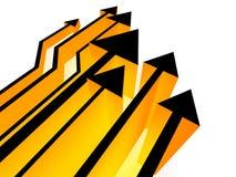 competición amarilla de las flechas 3d Fotografía de archivo libre de regalías