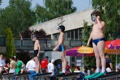 Competición de la natación de aleta Fotografía de archivo libre de regalías