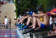 Competición de la natación de aleta Fotos de archivo