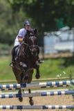 Competición de salto de la muchacha del caballo Foto de archivo libre de regalías