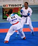 Competición del karate de las mujeres Foto de archivo libre de regalías