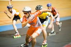 Competición del Rollerskating Foto de archivo