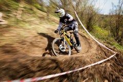 Competición extrema de la bici de montaña Fotografía de archivo