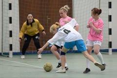 Competición futsal de la muchacha Fotografía de archivo