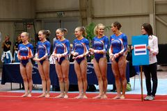 Competición internacional de la gimnasia artística Imágenes de archivo libres de regalías