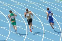 Competidores de los hombres de los 200m Fotos de archivo libres de regalías