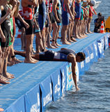 Competidores masculinos de la natación que esperan la señal de salida Imagen de archivo libre de regalías