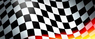 Competindo a bandeira com chamas Fotos de Stock