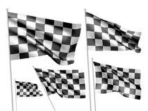 Competindo bandeiras chequered do vetor Imagem de Stock Royalty Free