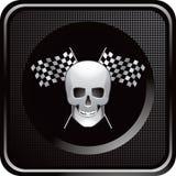Competindo bandeiras e crânio no ícone checkered preto do Web Fotografia de Stock Royalty Free