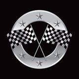 Competindo bandeiras no frame de prata circular da estrela Imagem de Stock