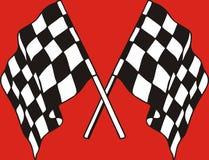 Competindo bandeiras no fundo vermelho Imagens de Stock Royalty Free