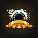 Competindo o emblema no preto Fotos de Stock Royalty Free