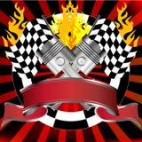 Competindo o emblema no vermelho com bandeiras da reunião Foto de Stock