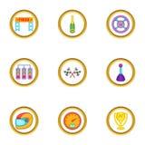 Competindo os ícones ajustados, estilo dos desenhos animados Fotos de Stock