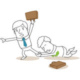Competing business people fighting each other. Vector illustration of a monochrome cartoon character: Competing business people fighting each other Stock Image