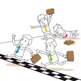 Competing business people fighting at finish line. Vector illustration of monochrome cartoon characters: Competing and racing business people fighting each other Royalty Free Stock Photography