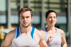 Competing - jogging in two Stock Photo