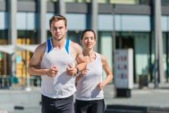 Competing - jogging in two Royalty Free Stock Photo