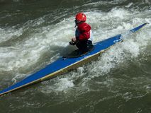 Competing in kayaking Royalty Free Stock Photo