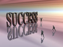 Competing, running for  success. Run for success,  businessmen competing, finding obstacles, disappointments, on the career run. Person in the background with Royalty Free Stock Photos