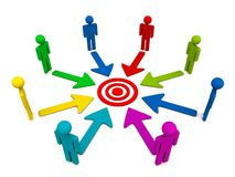 Competing for same target. Competetion amongst different people for same target or a common goal stock illustration
