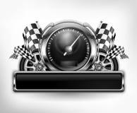 Competir con el velocímetro del emblema en blanco Fotografía de archivo libre de regalías