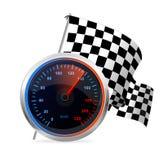 Competir con el velocímetro y la bandera a cuadros. Vector Imagen de archivo libre de regalías