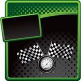 Competir con indicadores y el velocímetro en la bandera de semitono Imágenes de archivo libres de regalías