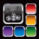 Competir con indicadores y los neumáticos checkered en los botones del Web Imágenes de archivo libres de regalías