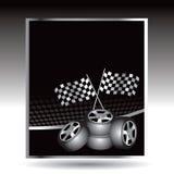 Competir con indicadores y los neumáticos checkered en los botones del Web Imagen de archivo libre de regalías