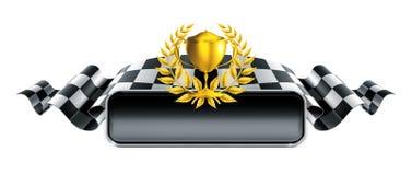 Competir con la bandera con el trofeo Imágenes de archivo libres de regalías