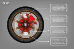 Competir con la rueda del coche y de la bandera infographic Fotos de archivo libres de regalías