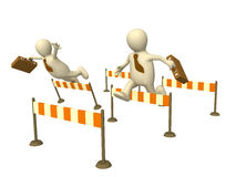 Competition. 3d businessmans - puppets, jumping through a barriers Stock Images