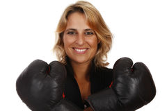 Competition. Business woman with positive attitude Royalty Free Stock Image