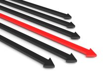 Competition. Black arrows and leading red arrow isolated on white background. High quality 3d render Stock Photo
